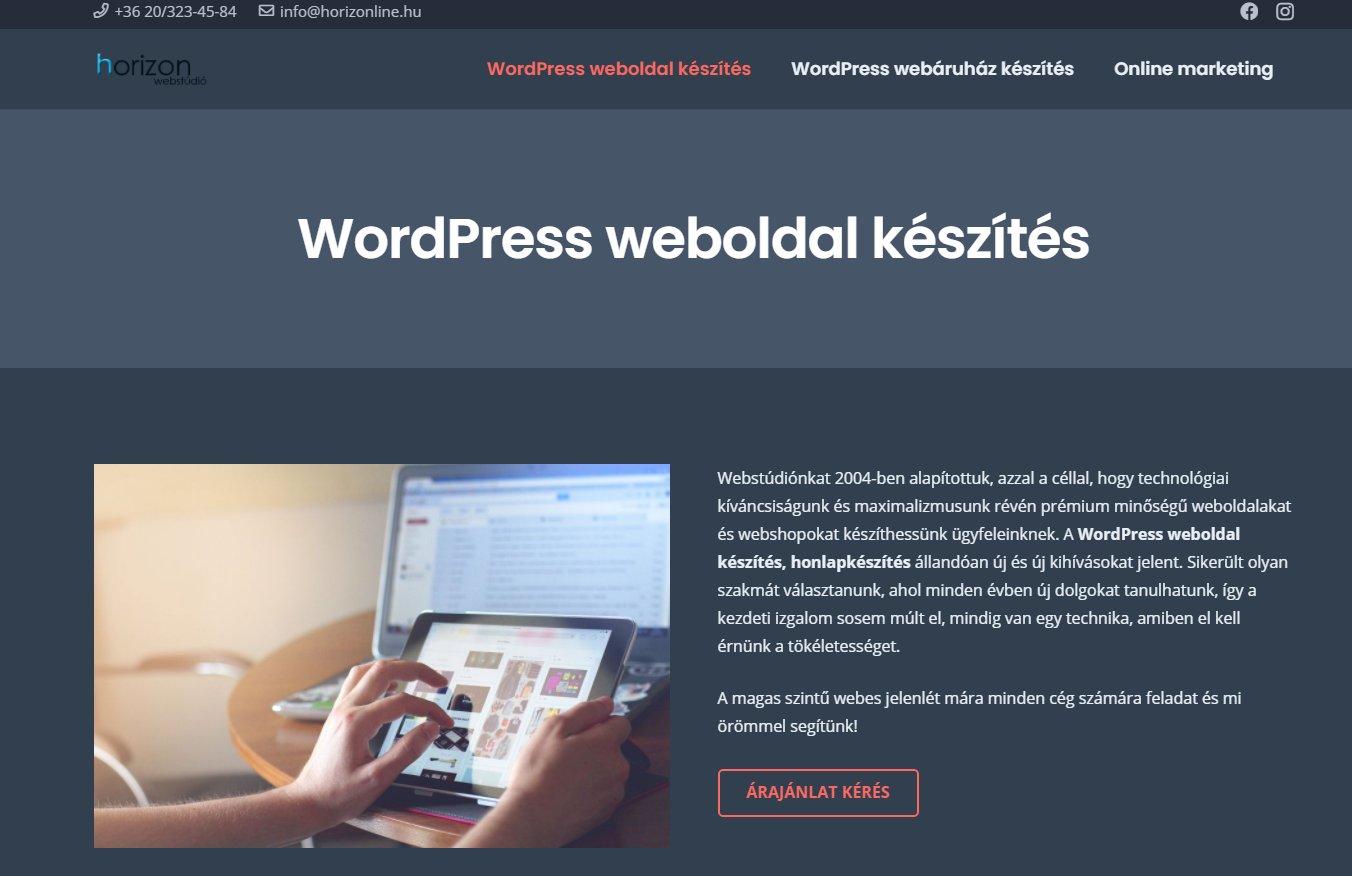 WordPress honlapkészítés cégeknek